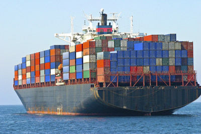 Cargo container ship at sea