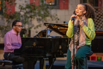 """""""Legendary jazz pianist Herbie Hancock and acclaimed vocalist Andra Day perform as part of the International Jazz Day 2021 All-Star Global Concert."""" (Steve Mundinger for Herbie Hancock Institute of Jazz)"""