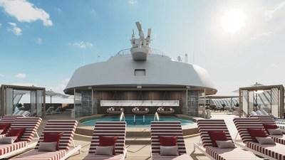 A bordo del nuevo Celebrity Beyond, The Retreat es un exclusivo complejo turístico para los huéspedes de suites, diseñado por Kelly Hoppen CBE. El nuevo Retreat Sundeck de dos niveles ofrece cabañas aisladas, elegantes asientos, elementos acuáticos, el Retreat Bar y mucho más, todo creado para que los huéspedes puedan disfrutar al máximo del aire del océano. (PRNewsfoto/Celebrity Cruises)