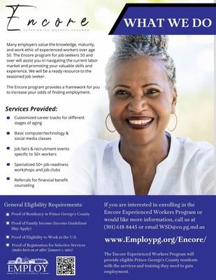 Programa de trabajadores experimentados de Encore (PRNewsfoto/Employ Prince George's)