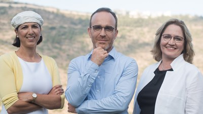 Aleph Farms' leadership team. From left to right: Technion Professor Shulamit Levenberg, Co-Founder and Chief Scientific Adviser; Didier Toubia, Co-Founder and Chief Executive Officer; Dr. Neta Lavon, Chief Technology Officer and Vice President of R&D. Credit: Rami Shalosh