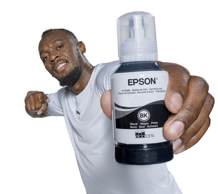 Usain Bolt, the face of a major awareness building campaign for Epson's cartridge-free EcoTank printers.